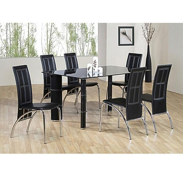 Unique Dining Table 6 Chairs Chair Black Glass Dining Table And 6 With Newest Black Glass Extending Dining Tables 6 Chairs (Image 20 of 20)