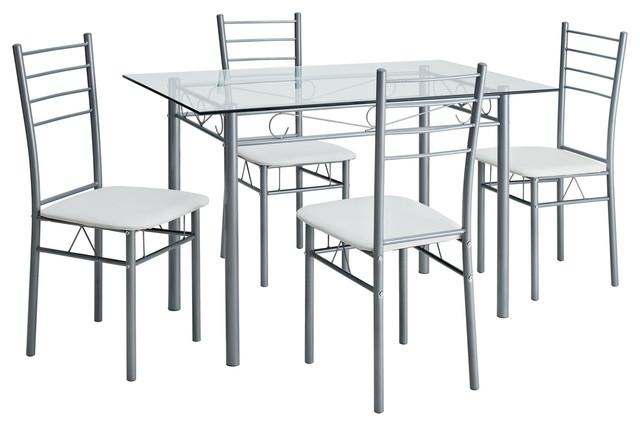 Urban Glass Table And Four Chair Dining Set – Dining Sets  Lexmod In 2017 Cheap Glass Dining Tables And 4 Chairs (Image 18 of 20)