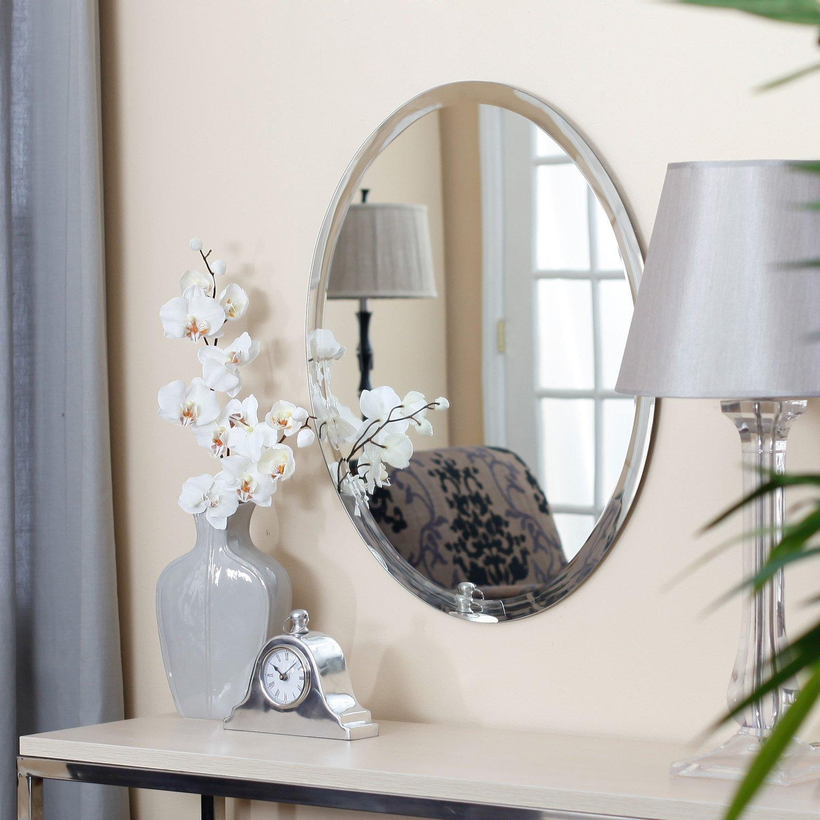 Uttermost Frameless Oval Beveled Vanity Mirror | Hayneedle In Frameless Beveled Bathroom Mirrors (Image 19 of 20)