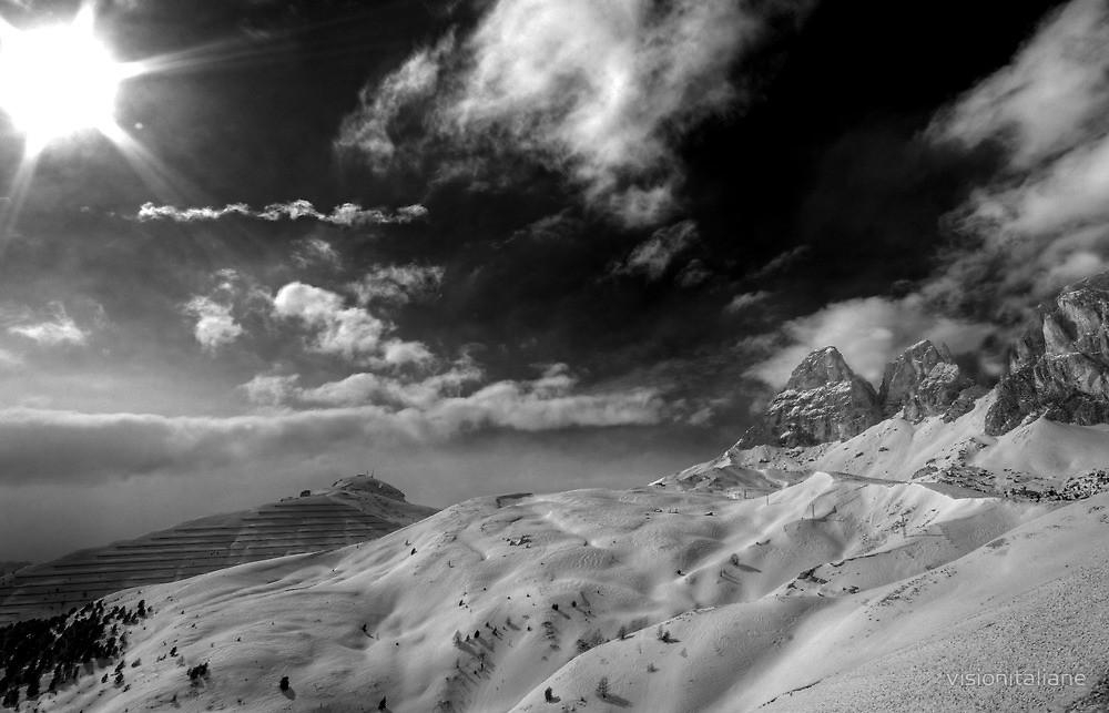 Vast Dramatic Landscape Winter In The Dolomites Italian Alps Black Pertaining To Black And White Italian Wall Art (Photo 20 of 20)