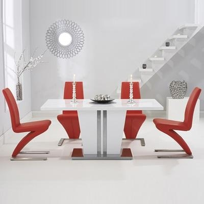 Vegas High Gloss White Dining Table With 6 Harvey Red Chairs With Regard To Most Current High Gloss White Dining Chairs (Image 17 of 20)