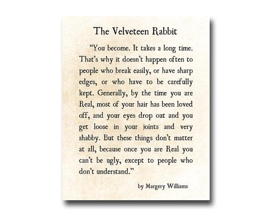 Velveteen Rabbit Quote Margery Williams Literary Print Love Intended For Velveteen Rabbit Wall Art (Image 8 of 20)