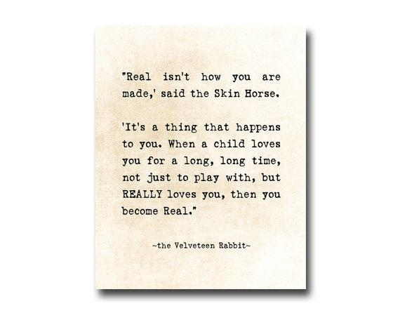 Velveteen Rabbit Quote Margery Williams Literary Print With Velveteen Rabbit Wall Art (Image 9 of 20)