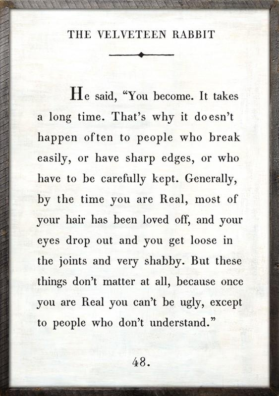 Velveteen Rabbit Quote Vintage Art Print With Grey Wood Frame For Velveteen Rabbit Wall Art (View 1 of 20)