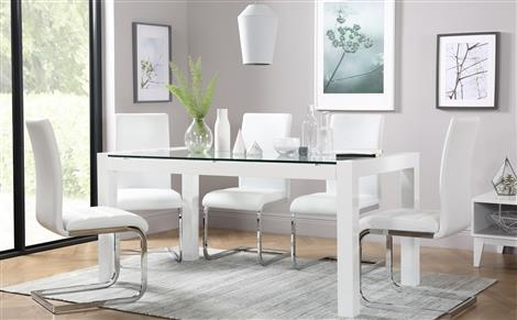 Venice White High Gloss And Glass Dining Table And 6 Chairs Set Intended For Most Popular Perth Glass Dining Tables (Image 19 of 20)