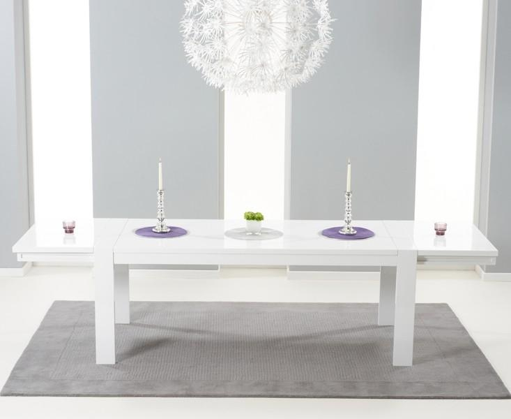 Venice White High Gloss Extending Dining Table (200Cm 300Cm Intended For Newest High Gloss Extendable Dining Tables (Image 18 of 20)