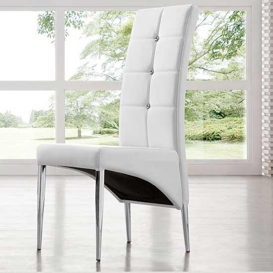 Vesta Studded Faux Leather Dining Room Chair In White 21163 With Regard To Most Popular White Leather Dining Room Chairs (View 15 of 20)