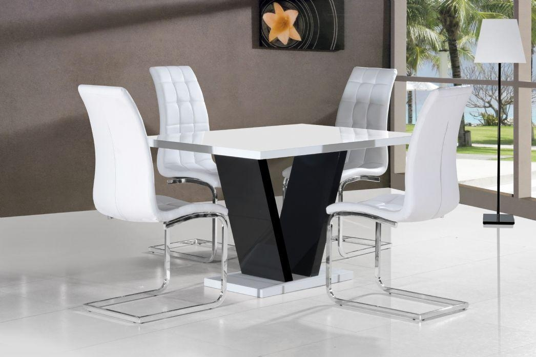 Vico White Black Gloss Contemporary Designer 120Cm Dining Table Within Recent Black Gloss Dining Sets (Image 19 of 20)