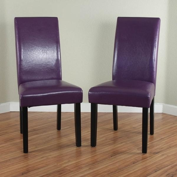 Villa Faux Leather Boysenberry Dining Chairs (Set Of 2) – Free Within 2018 Purple Faux Leather Dining Chairs (Image 20 of 20)