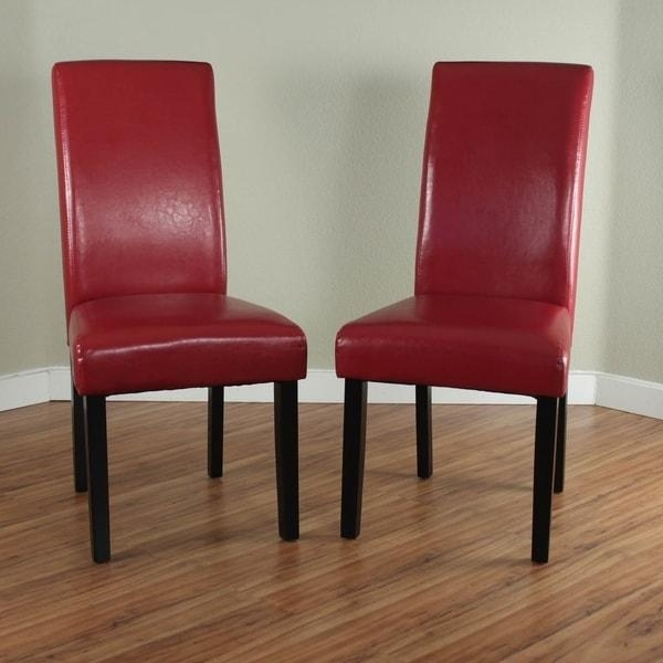 Villa Faux Leather Red Dining Chairs (Set Of 2) – Free Shipping Inside 2017 Red Dining Chairs (Photo 7 of 20)