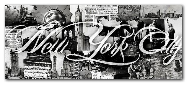 "Vintage B&w New York City"" Canvas Wall Art – Contemporary – Prints For Black And White New York Canvas Wall Art (Image 14 of 20)"
