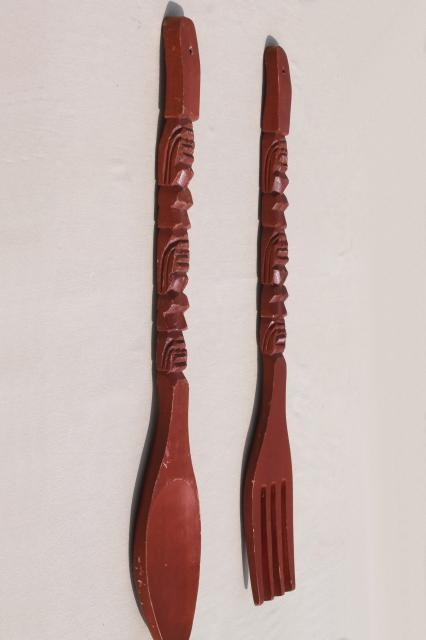 Vintage Carved Wood Fork & Spoon Wall Art, Polynesian Tiki Bar Throughout Wooden Fork And Spoon Wall Art (Photo 14 of 20)
