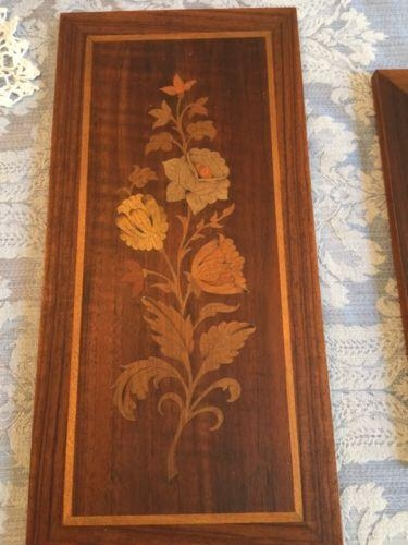Vintage Flower Wood Inlay Wall Plaque Folk Art Multi Wood Italy With Regard To Italian Inlaid Wood Wall Art (Image 17 of 20)