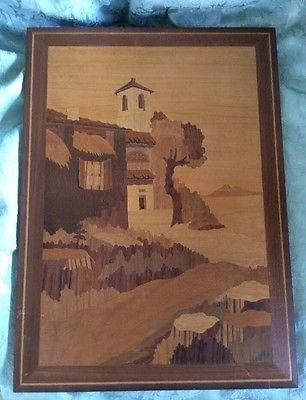Vintage Inlay Wood Folk Art Picture Italian Village Scene Wall Art For Italian Inlaid Wood Wall Art (Image 18 of 20)