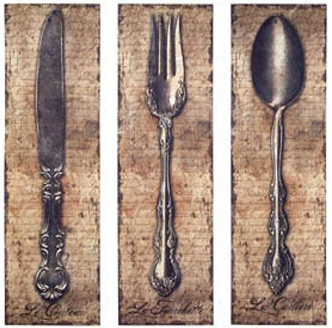 Vintage Kitchen Silverware Canvas Wall Art Spoon Knife Fork – The Inside Silverware Wall Art (View 13 of 20)