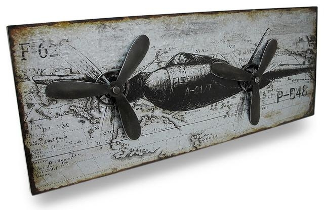Vintage Military Style Airplane Metal Wall Panel With Rotating Intended For Metal Airplane Wall Art (View 5 of 20)