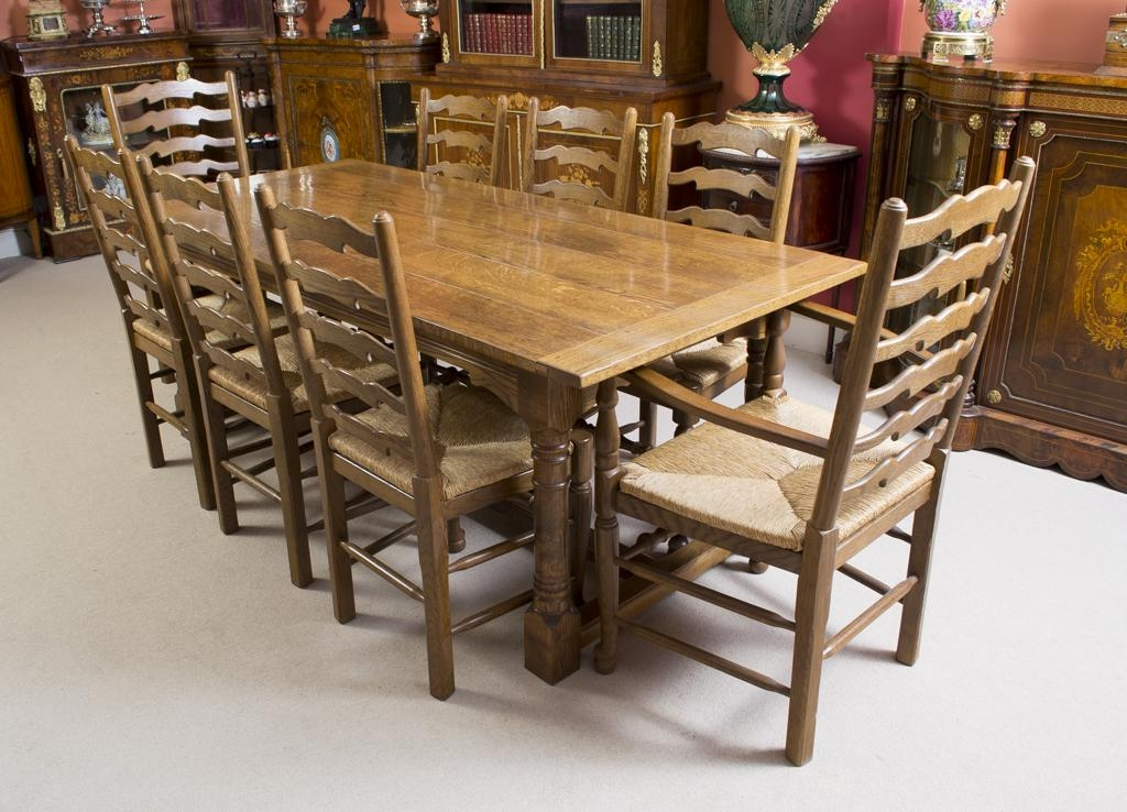 Vintage Solid Oak Refectory Dining Table & 8 Chairs Inside Most Popular Solid Oak Dining Tables And 8 Chairs (Image 20 of 20)