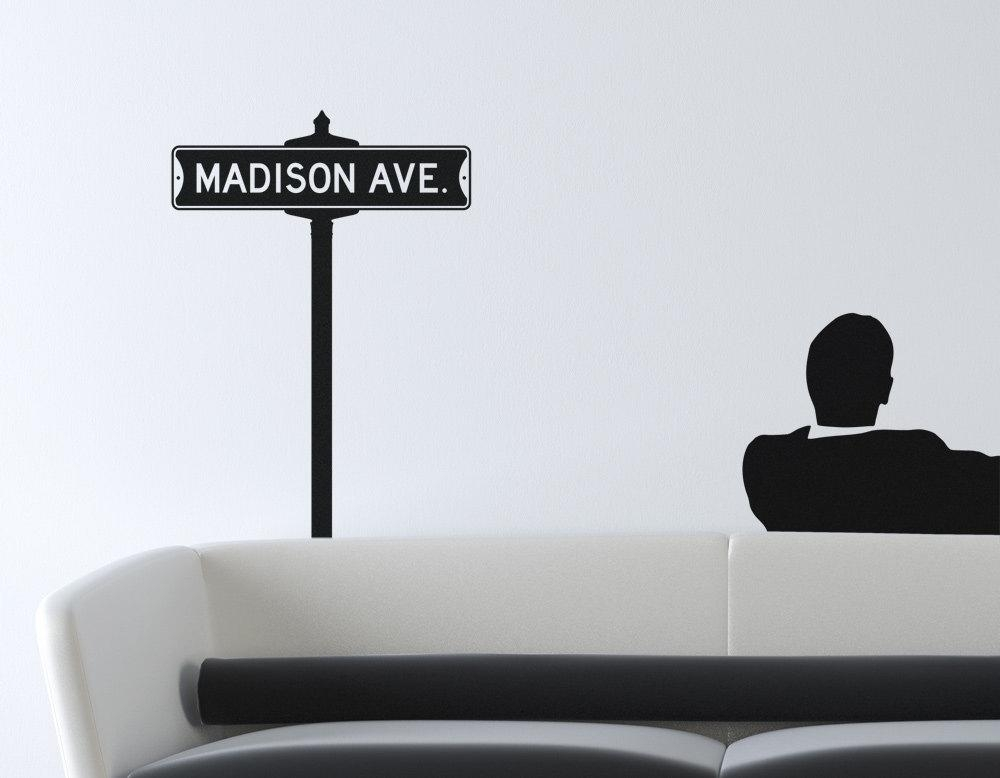 Vintage Street Sign Removable Vinyl Wall Art Mad Men Madison Pertaining To Mad Men Wall Art (Photo 16 of 20)