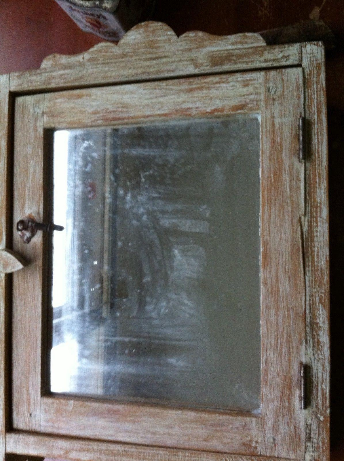Vintage Wood Bathroom Medicine Cabinet Glass Mirror With Towel Bar Regarding Vintage Wood Mirrors (Photo 9 of 20)