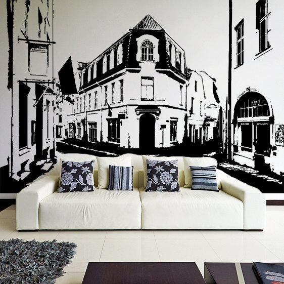 Vinyl Wall Decal Old Town Street View / Medieval City & Within Street Wall Art Decals (Image 17 of 20)