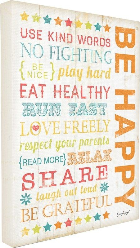 Viv + Rae Stella Be Happy Kids Typography Canvas Wall Art With Regard To Typography Canvas Wall Art (View 18 of 20)