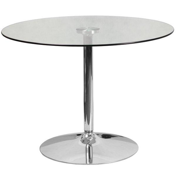 Wade Logan Cavell Round Glass Dining Table & Reviews | Wayfair With Most Recent Glasses Dining Tables (Image 20 of 20)