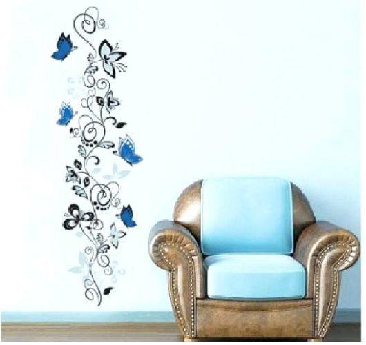 Wall Art ~ Blue Butterfly With Flower Vine Wall Art Grape Vine Throughout Grape Vine Metal Wall Art (Image 8 of 20)