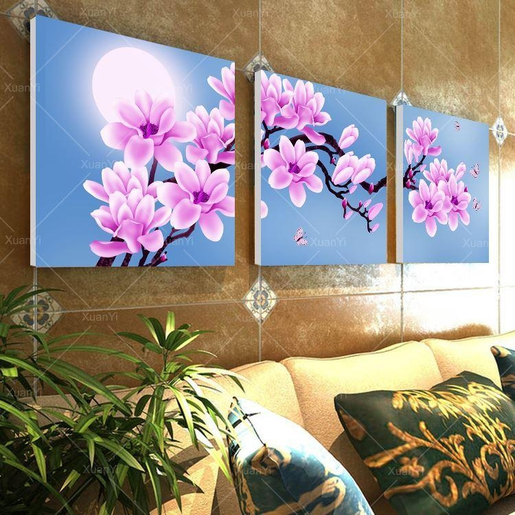 Wall Art Canvas Picture Orchid Flower Landscape Oil Paintings For Flower Wall Art Canvas (Image 17 of 20)