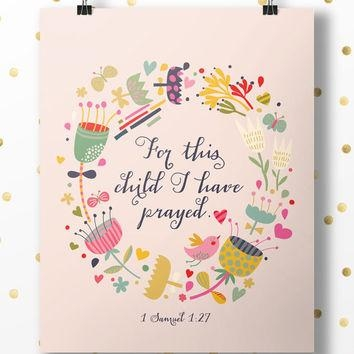 Wall Art Decor Ideas: Hanging For This Child I Prayed Wall Art For For This Child I Have Prayed Wall Art (Image 19 of 20)