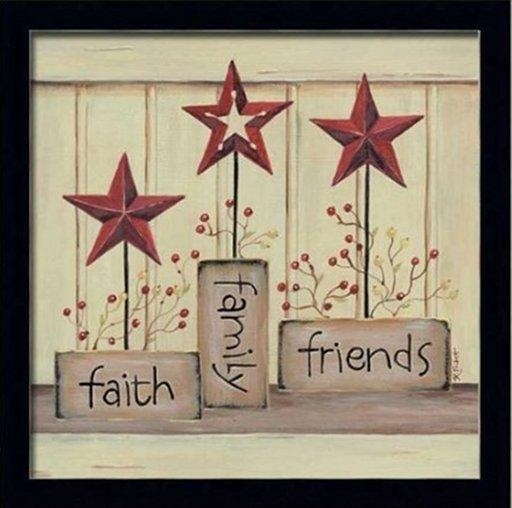 Wall Art Decor Ideas: Stars Faith Family Friends Wall Art Simple Inside Faith Family Friends Wall Art (View 7 of 20)