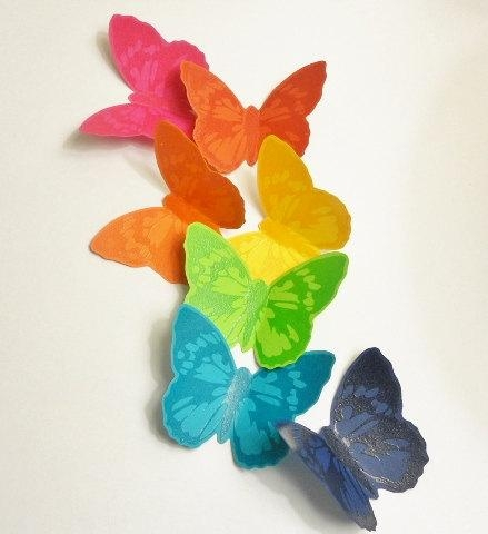 Wall Art Design Ideas: Beautiful Rainbow Butterfly Wall Art 24 For Pertaining To Rainbow Butterfly Wall Art (Image 19 of 20)