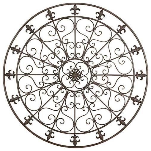 Wall Art Design Ideas: Large Orleans Round Metal Wall Art Circle Throughout Large Round Metal Wall Art (Image 13 of 20)