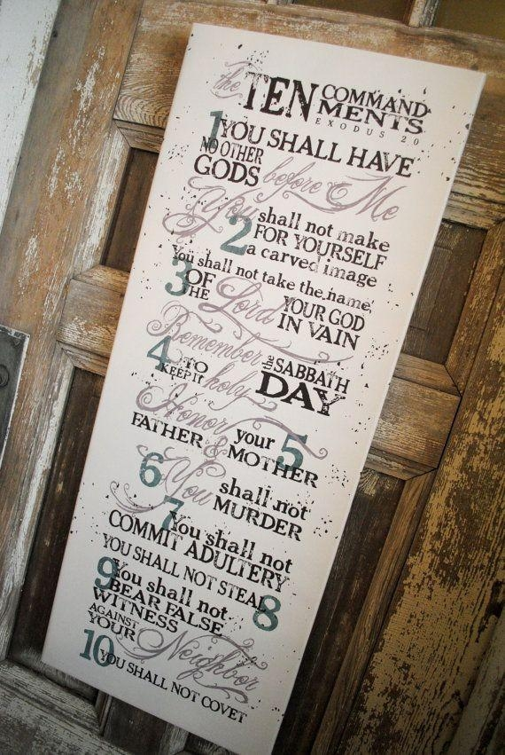 Wall Art Design Ideas: Piece Part Ten Commandments Wall Art Intended For 10 Commandments Wall Art (View 3 of 20)