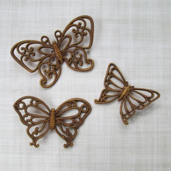 Wall Art Design Ideas: Rattan Butterfly Wicker Wall Art Set Of 3 In Wicker Rattan Wall Art (Image 12 of 20)