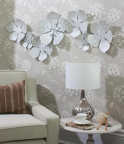 Wall Art Design Ideas : Silver Metal Wall Art Flowers – Great Intended For Silver Metal Wall Art Flowers (Image 13 of 20)