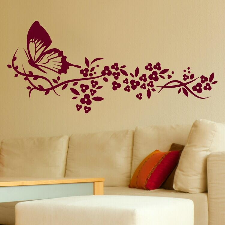 Wall Art Design Wall Art Flowers Maroon Red Cream Butterfly And Inside Stencil Wall Art (Image 17 of 20)
