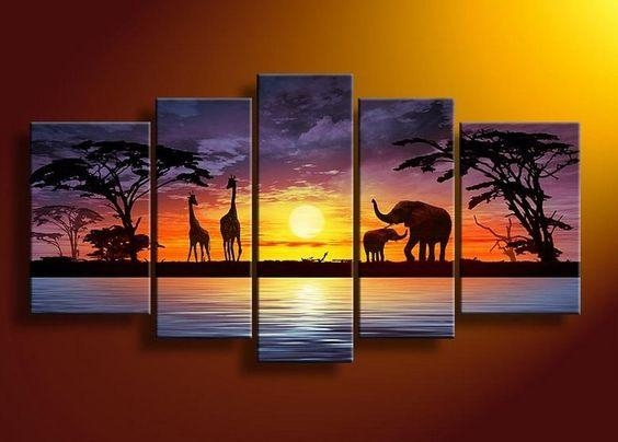 Wall Art Designs: 5 Piece Canvas Wall Art Rectangle Handpainted 5 Within Five Piece Wall Art (Image 14 of 20)