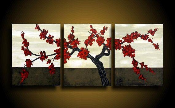 Wall Art Designs: Asian Wall Art Red Flowers Branch Three Panel Regarding Asian Themed Wall Art (Image 19 of 20)