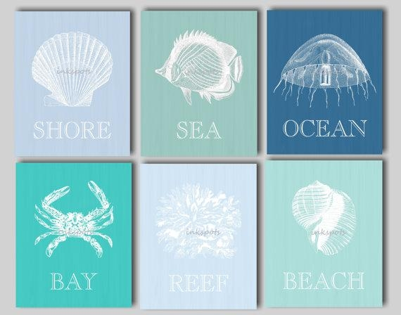 Wall Art Designs: Beach Wall Art Decor Blue And White Seashell With Regard To Seashell Prints Wall Art (Image 19 of 20)