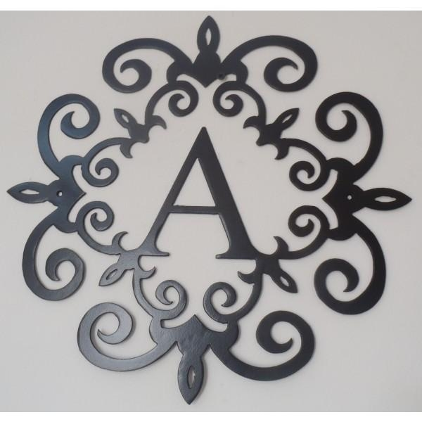 Wall Art Designs: Black Metal Wall Art Monogram Inside A Metal In Monogram Metal Wall Art (Image 16 of 20)