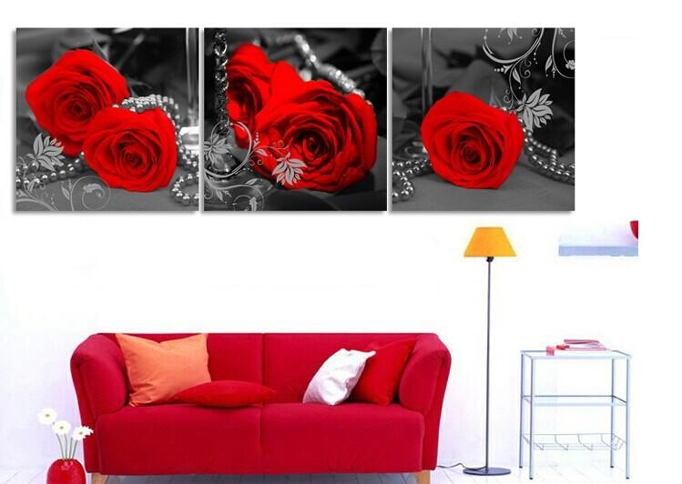 Wall Art Designs: Decor Red Rose Canvas Wall Art Large Oil Inside Rose Canvas Wall Art (View 3 of 20)