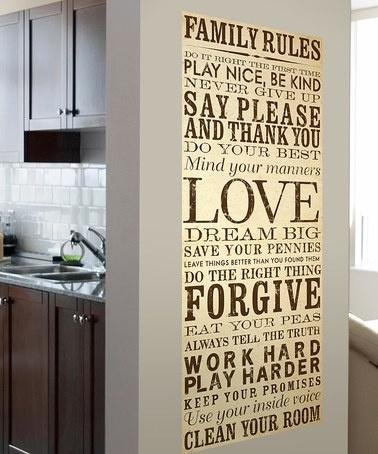 Wall Art Designs: Family Rules Wall Art Typography Style Family Regarding Typography Canvas Wall Art (View 11 of 20)