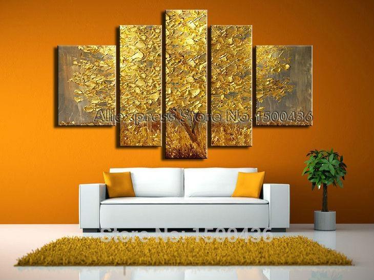 Wall Art Designs: Five Piece Canvas Wall Art Hand Painted Modern Regarding Five Piece Wall Art (Image 18 of 20)