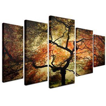 Wall Art Designs: Five Piece Canvas Wall Art Japanese Tree 5 Piece In Five Piece Wall Art (Image 19 of 20)