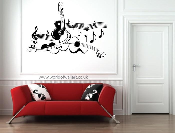 Wall Art Designs: Guitar Wall Art Guitar Music Score Wall Art Inside Music Notes Wall Art Decals (Image 20 of 20)