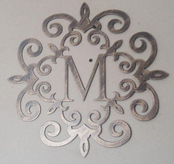 Wall Art Designs: Steel Wall Art Family Initial Monogram Antique Pertaining To Monogram Metal Wall Art (Image 17 of 20)