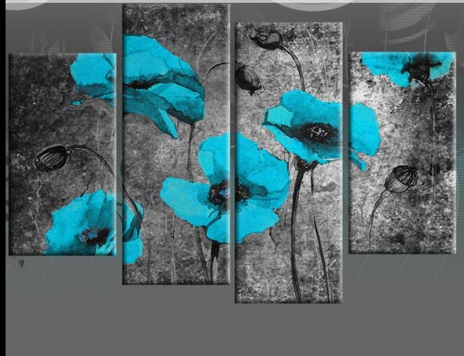 Wall Art Designs: Triptych Wall Art Extra Large 60 Inch Turquoise Intended For Black And Teal Wall Art (Image 20 of 20)