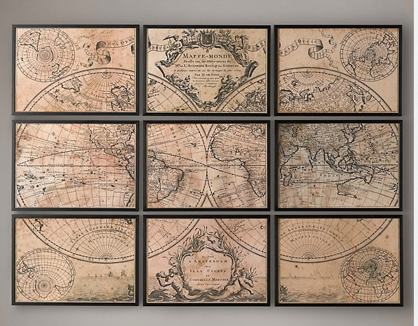 Wall Art Designs: Wonderful Home Decor Vintage Maps Wall Art For Old World Map Wall Art (Image 16 of 20)