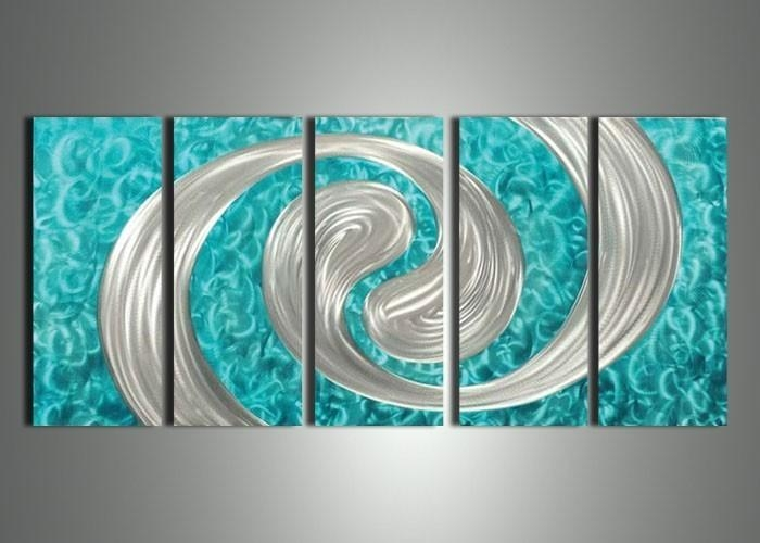Wall Art: Inspiring Turquoise Metal Wall Art Turquoise Abstract In Turquoise Metal Wall Art (Image 16 of 20)