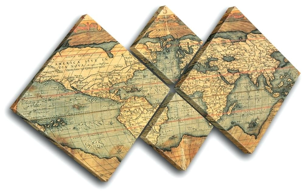 Wall Art ~ Old World Map Art Multi Color Decorative Art Antique Regarding Old World Map Wall Art (Image 12 of 20)